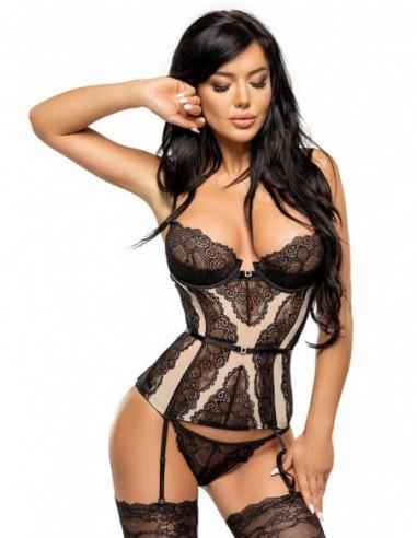 Ravenna corset zwart-beige